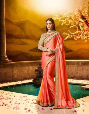 563dae8a051 Designer Party Wear Saree In Peach Colour. Exclusive Saree Archives -  www.clickonbazaar.com