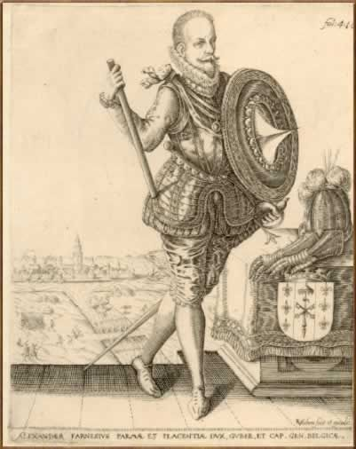 Alexander Farnese Duke of Parma (1545-1592) Son of Ottavio Farnese and Margaret of Parma. Husband to Infanta Maria of Portugal. Grandson of Alessandro Farnese, Pope Paul III