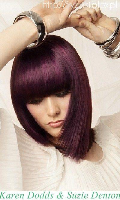 WWW.WLOSY.ES - KATALOG MODNYCH FRYZUR: Fioletowe włosy z prostą grzywką