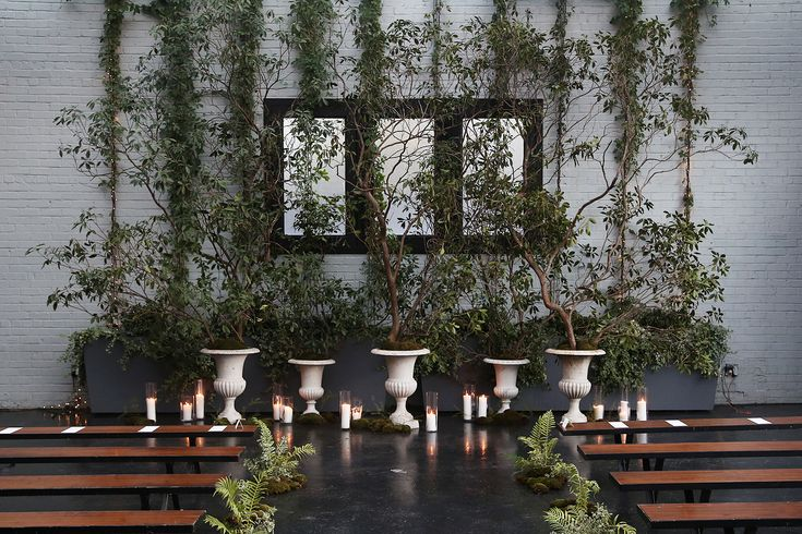 Gorgeous wedding of dusty corals and touches of fern at 501 Union in Brooklyn.