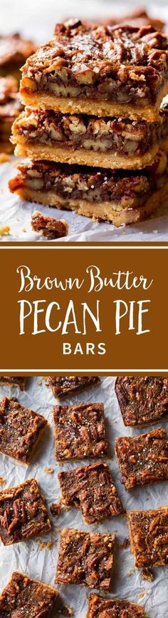 So much easier than baking an entire pie! These brown butter pecan pie bars are made with maple syrup and brown sugar. Recipe on sallysbakingaddiction.com