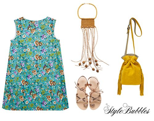 Still on vacay or back to work? Summer colored outfits work both ways! #Stylebubbles #dress #bags #sandals #fashion #onlineshopping