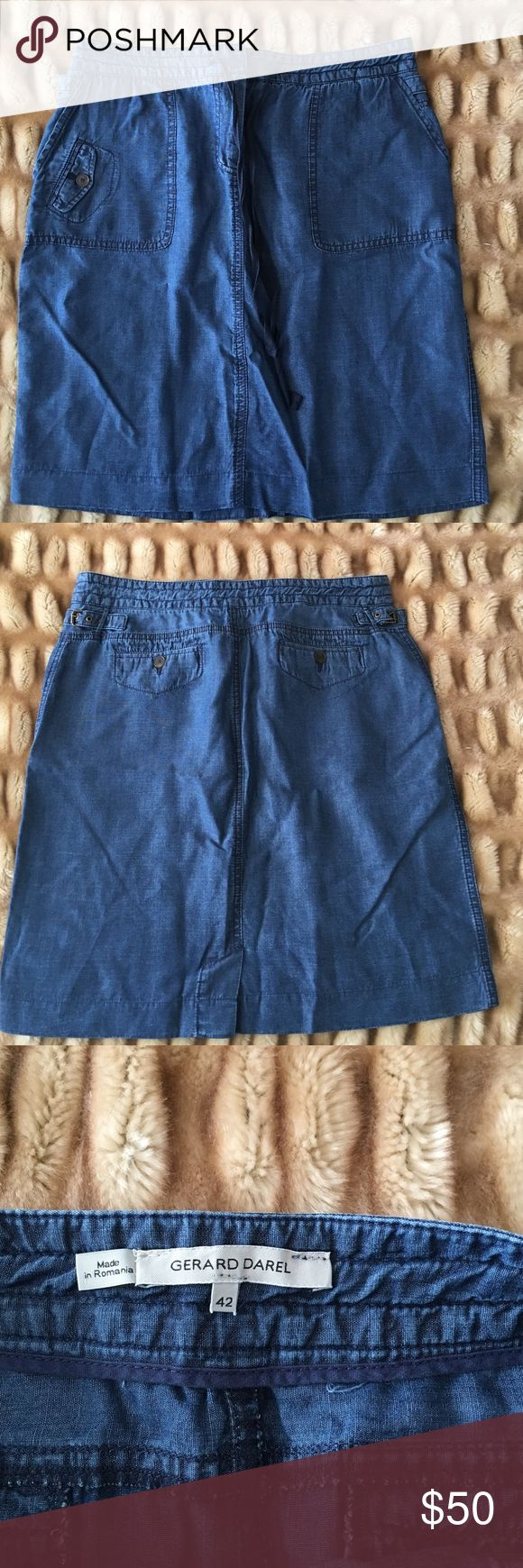 Gerard Darel Denim skirt Denim skirt! Perfect for Sunday brunch, a day out with the girls or a nice BBQ! Gerard Darel Skirts