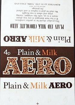 Plain and Milk Aero chocolate bar wrapper from 1972