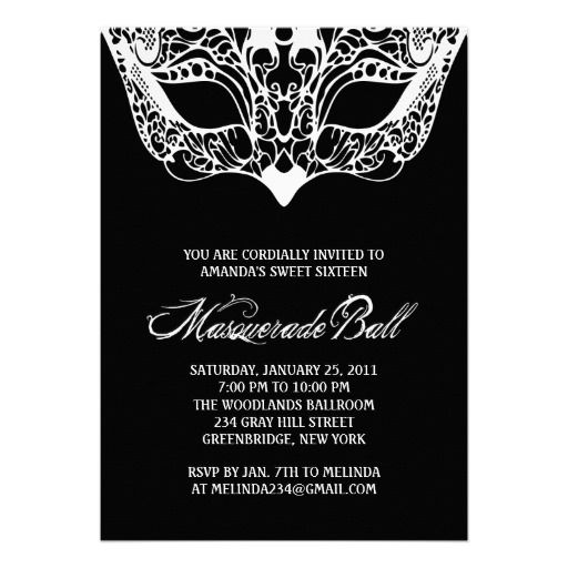 Black and White Masquerade Invitations