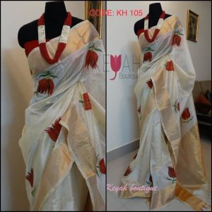*SOLD* Hand painted silk cotton saree with blouse