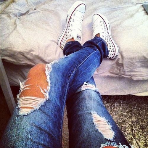 Studded Converse, shoes, ripped jeans