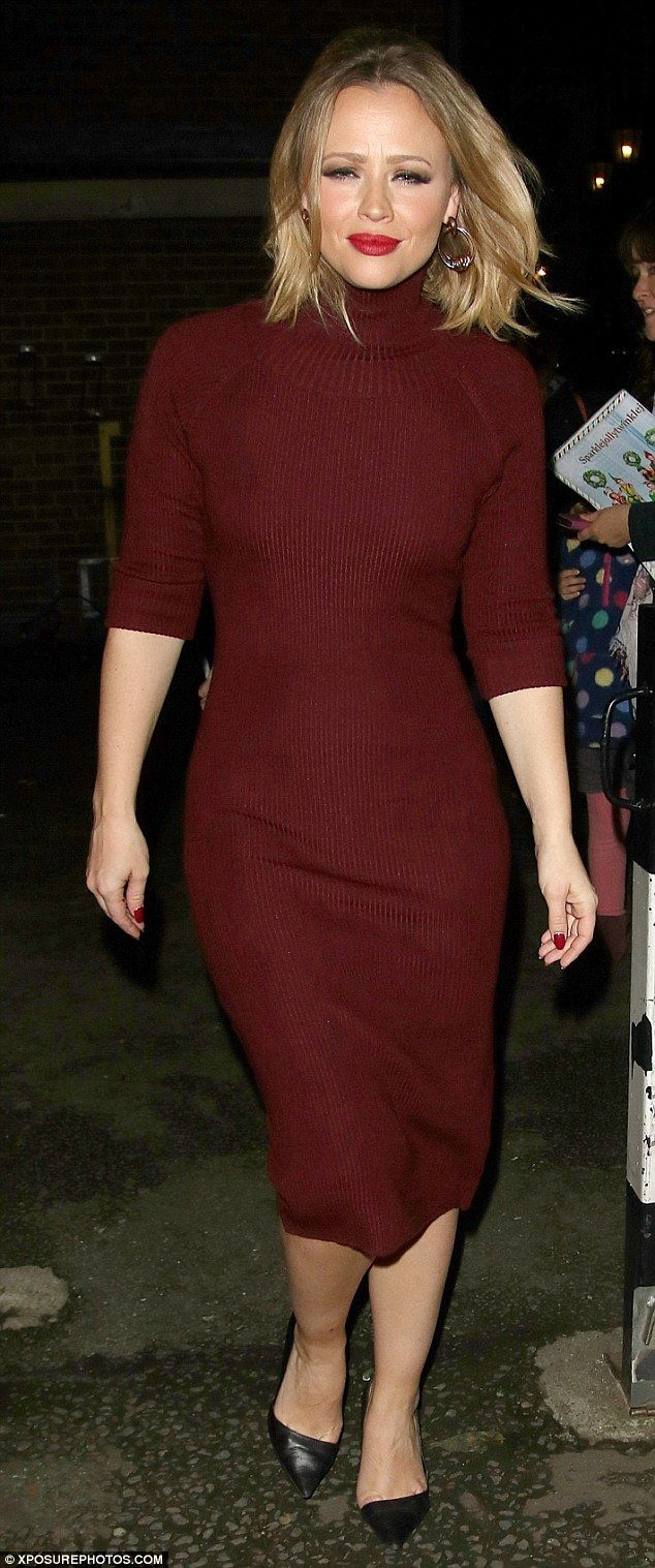Smoldering: Kimberley Walsh looked foxy in her burgundy jumper dress as she left London's Dominion theatre on Friday