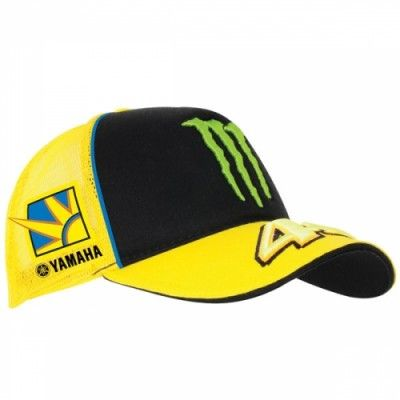 """Official VR46 Valentino Rossi Merchandise for the 2013 Moto GP season.  Rossi Yamaha Monster Trucker Cap 2013. The front of the cap boasts an embroidered Monster scratch and the 46 logo on the peak. On the sides new """"Sun and Moon"""" and Yamaha branded logos are present, whilst on the rear, above the adjustable clasp, a """"VR46"""".  One size fits all.  50% Cotton, 50% Polyester."""