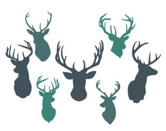 deer heads svg dxf file instant download silhouette cameo cricut clip art