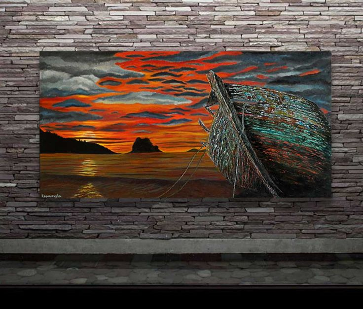 The Sunset Watcher-Original art seascape oil painting on canvas by EMMANOUELA-Size:100x50cm (39.4''x19.7'') by Blowart on Etsy