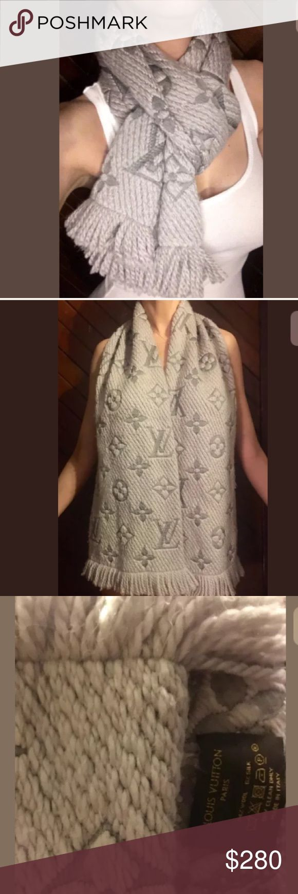 Louis Vuitton Pearl Grey Monogram Wool Silk Scarf Louis Vuitton Logomania Pearl gray wool silk monogram scarf. Comes neatly folded in its original box at 94% wool 6% silk. This scarf can be used for either man or woman, and is sure to keep you cozy and warm, and of course in fashion! This exact color still being sold brand new in stores!  174 x 30 cm  ( length  x width )   - 94% wool, 6% silk - Monogram pattern in organza silk - Jacquard technique - Long fringes finishing Louis Vuitton…
