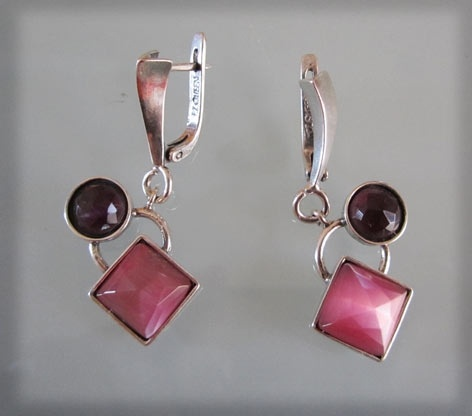 Epilogue Earrings Silver with 2 Cat's Eye Semi Precious Stones in Different Shapes and Colors.: Cat Eyes, Color, Eye Semi