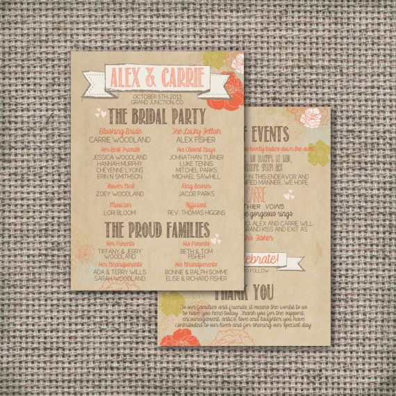 DIY Wedding Programs | Wedding Program - Printable, Custom - DIY Wedding - RUSTIC, Kraft ...