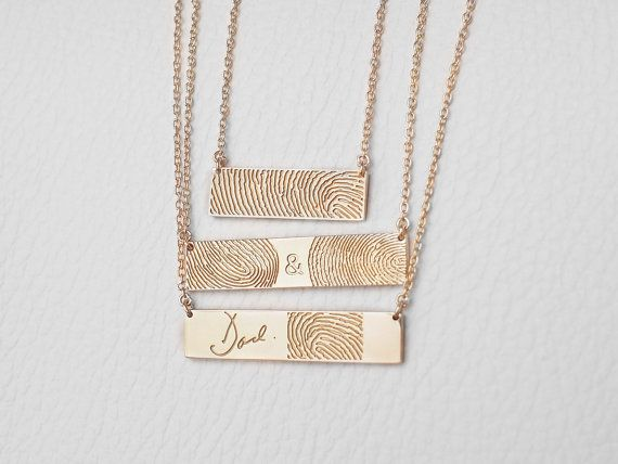 Actual Fingerprint Bar Necklace - Personalized Fingerprint Jewelry - Memorial Necklace