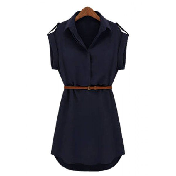 Women's Cap Sleeve Stretch Chiffon Open Loop Shirt Mini Dress With Belt, CADETBLUE, 2XL in Chiffon Dresses | DressLily.com