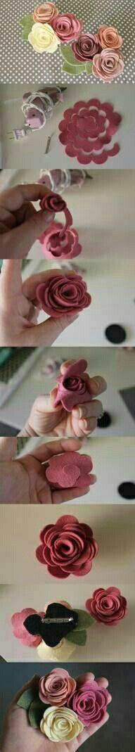 Felt flower hair clip how to