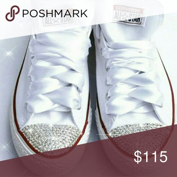 Selling this Womens bling lowtop white converse on Poshmark! My username is: blingedempire. #shopmycloset #poshmark #fashion #shopping #style #forsale #Converse #Shoes