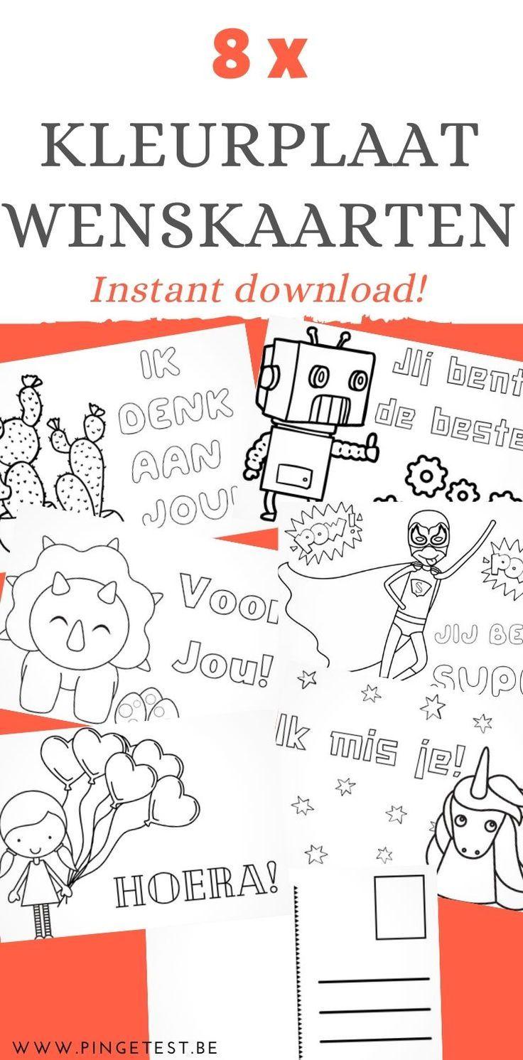 Kleurplaat Wenskaarten Voor Kinderen Printable Set Van 8 Postkaarten Voor Kinderen Kinderen Kleurplaten Voor Kinderen