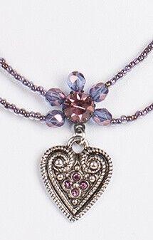 Halskette 2 reihig aus Perlen, pflaume