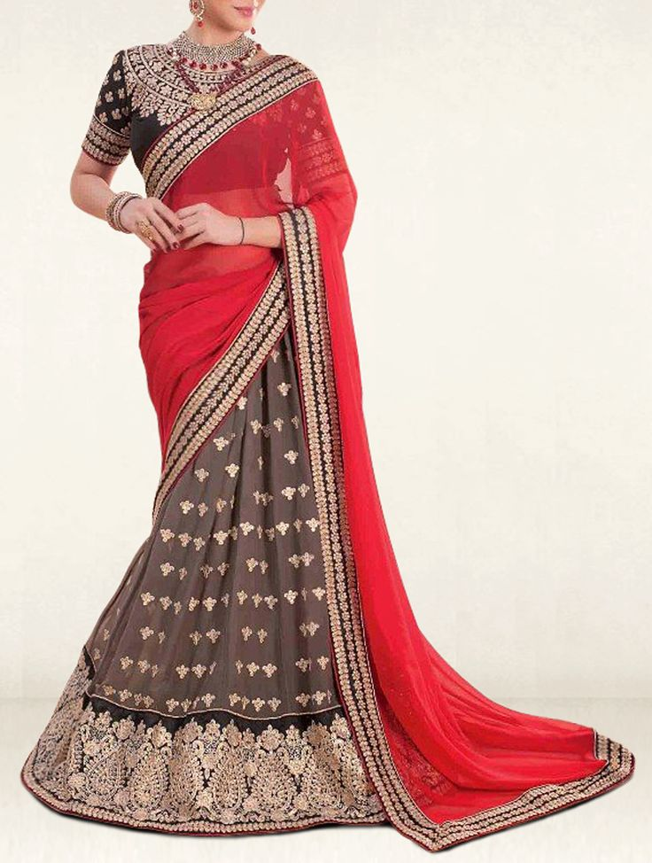 Bequeath a look of effortless sophistication adorned in this red and grey georgette and chiffon designer lehenga saree.