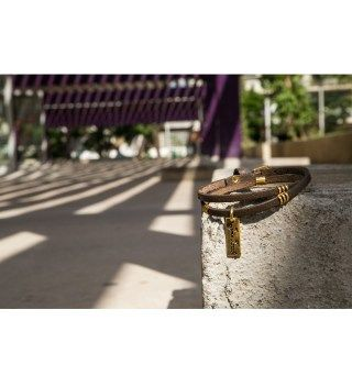 JT Two Turns Brown Leather Bracelet With Golden Metals