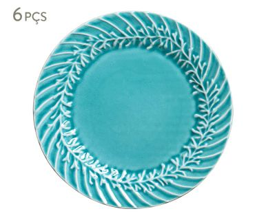 Jogo de Pratos Rasos Coral - Azul
