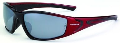 Crossfire RPG safety Glasses with Shiny Black w/Pearl Red Frame and Silver Mirror Lens