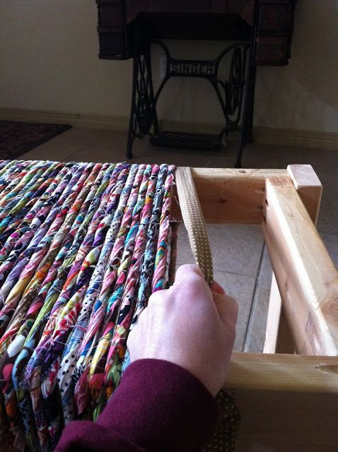 "DIY Woven Bench (can use 2 colors of fabric to make the ""yarn"" instead of multiple colors/prints shown here"