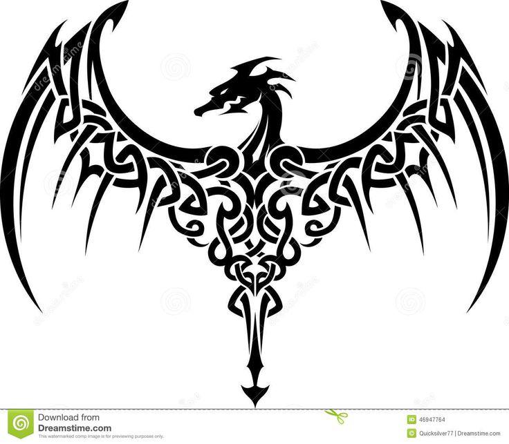 Scottish Tribal Tattoos: Celtic Dragon Tattoo Stock Illustration