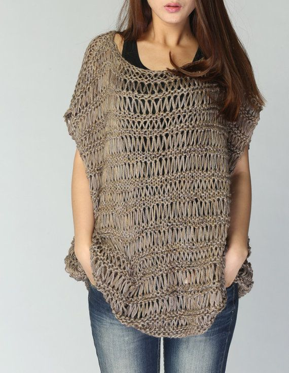 Knit loose sweater cotton Tunic in Mocha by MaxMelody on Etsy