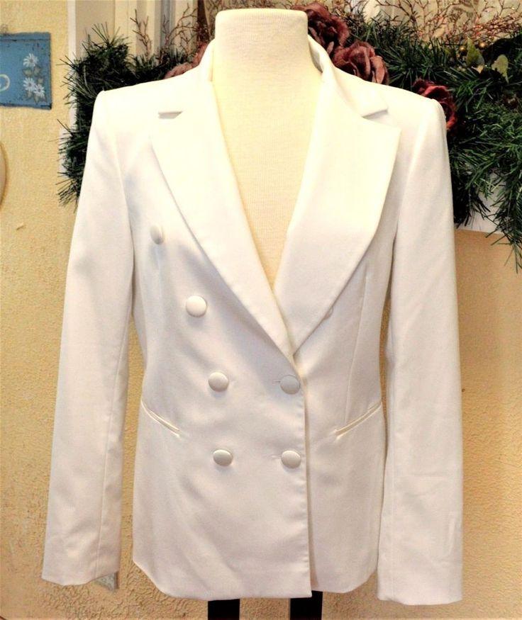 White House Black Market 10 Blazer Ivory Satin Accents Pockets Double Breasted #WhiteHouseBlackMarket #Blazer
