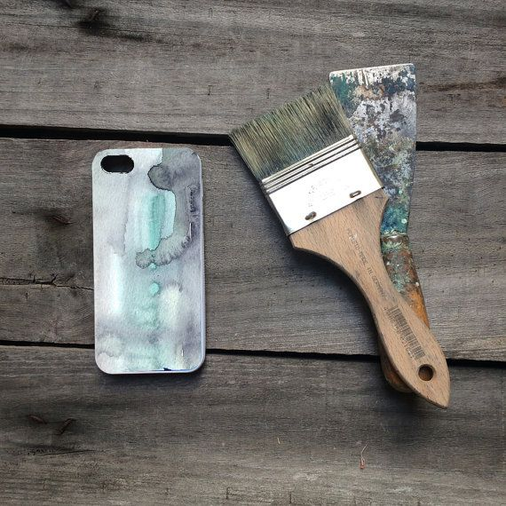 iphone protective case turquoise & grey abstract watercolor, iPhone…