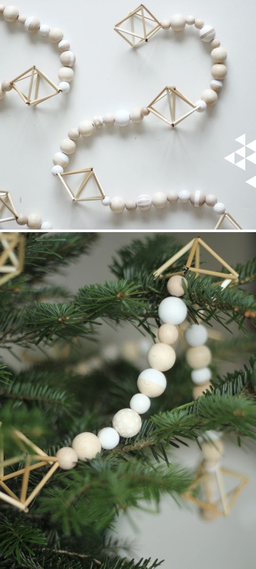 Scandinavian Christmas Tree wood bead Garland