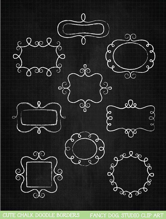 SALE  60 OFF  Clip Art Chalk Frames Doodle by PaulaKimStudio, $1.60