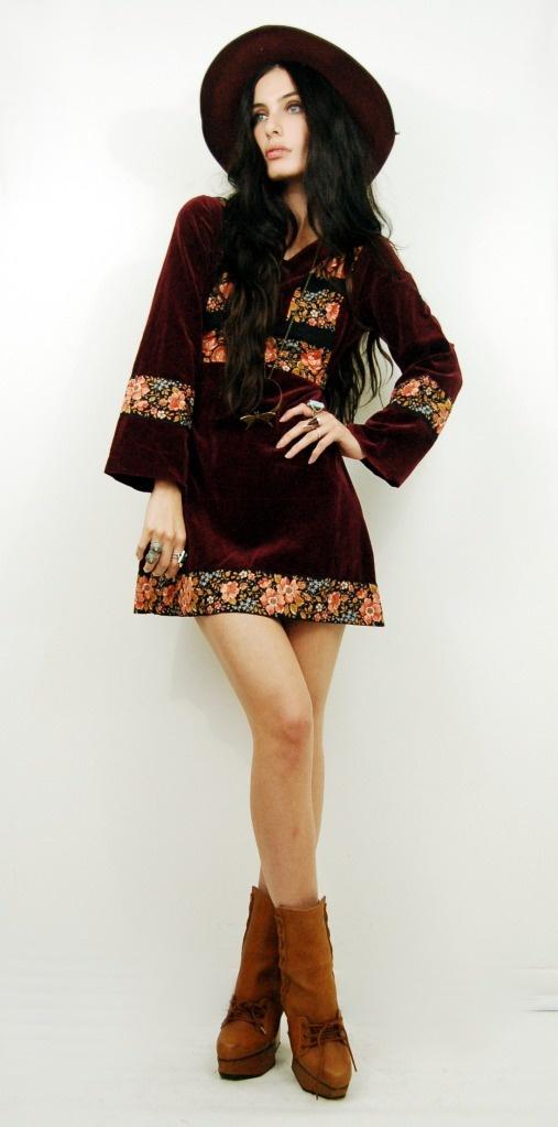 70s Burgundy VELVET Floral Mini Dress. Sisters of the Black Moon