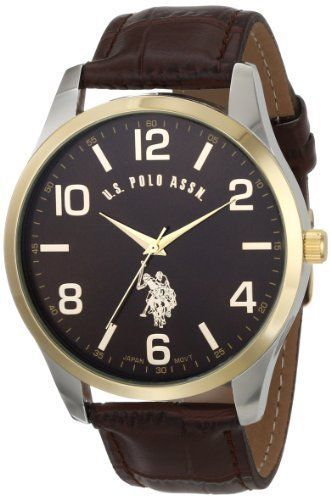 Men's Classic Men's U.S Polo Watch with Brown Leather Band #Polo #Casual