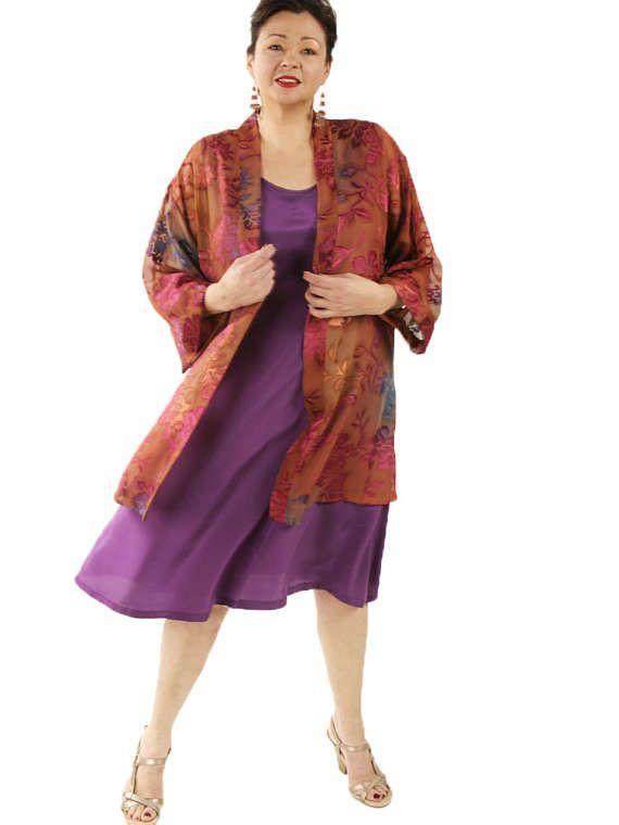 Plus-Size Mother of the Bride Tunic-Length Kimono Jacket Ruby