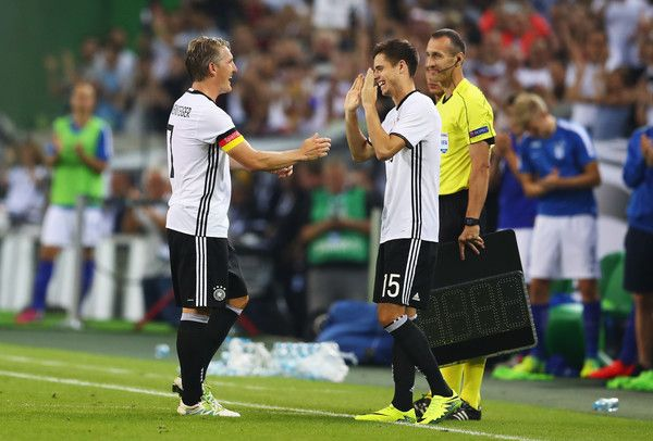 Julian Weigl Photos Photos - Bastian Schweinsteiger of Germany is substituted for Julian Weigl during the International Friendly match between Germany and Finland at Borussia-Park on August 31, 2016 in Moenchengladbach, Germany. - Germany v Finland - International Friendly