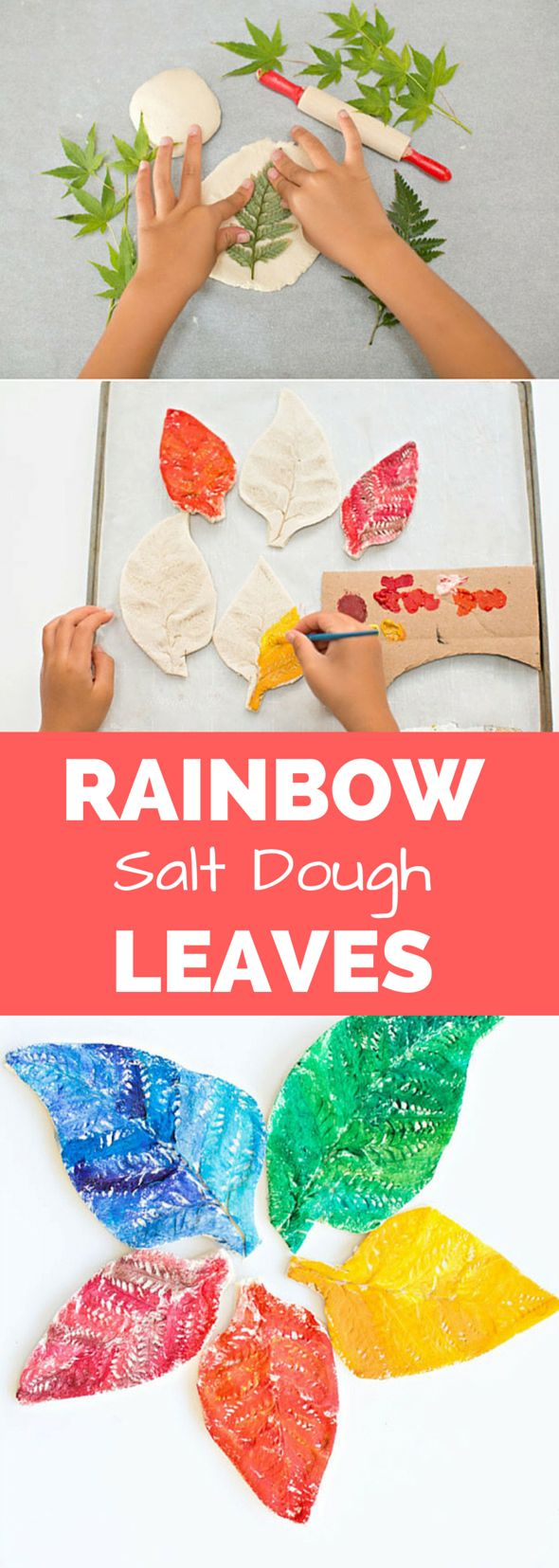 Watercolor Rainbow Salt Dough Leaves. A beautiful nature inspired activity for kids.