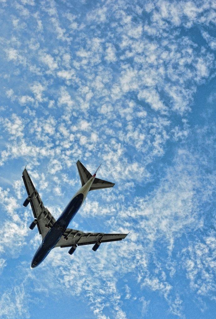 Wonderful, Airplane flying across the Beautiful Peaceful Blue Sky. ☺❤