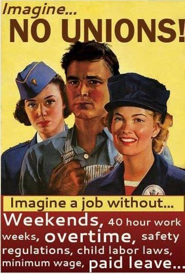 can you imagine a job without weekends, 40 hr work weeks, overtime, safety regulations, child labor laws, minimum wage, paid leave...? Support unions by buying union made to keep this country strong! Labor 411 makes it easy to buy union