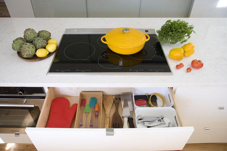 under cooktop drawer utensils storage
