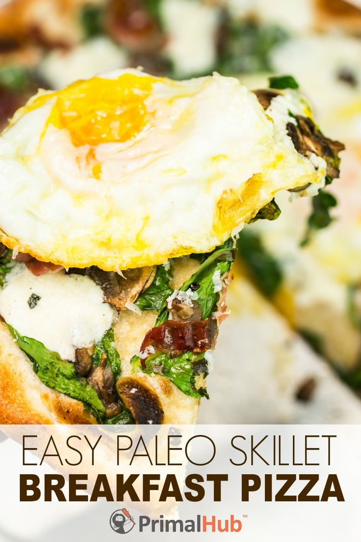 Easy Paleo Skillet Breakfast Pizza -replace bacon with turkey bacon, halal summer sausage or ground meat