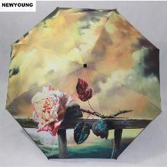 [ 33% OFF ] Big Sale 3 Folding 8K Sun Rain Uv Creative Automatic Umbrella Women Paint Windproof Umbrella Party Valentine's Day