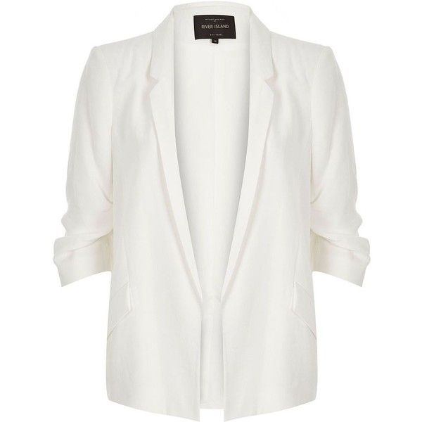 River Island White ruched sleeve blazer ($30) ❤ liked on Polyvore featuring outerwear, jackets, blazers, casacos, coats & jackets, white blazer, white jacket, blazer jacket, white blazer jacket and woven jacket