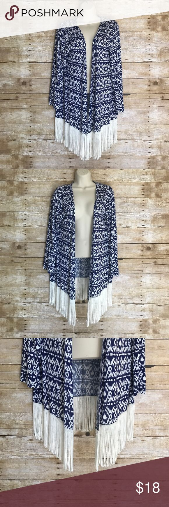 """""""Design Works"""" Brand Kimono cardigan tribal Boho S Beautiful Design Works Brand Boho style kimono cardigan - Size Small - blue & white tribal print with white silky fringes at bottom - long sleeve relaxed cover up - excellent condition - ‼️FAST SHIPPING‼️ Design Works  Sweaters Cardigans"""