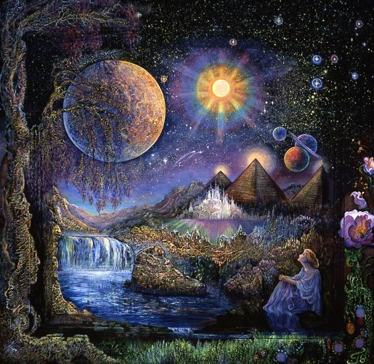 Doorway to the Stars, Josephine Wall    If you close your eyes and release your imagination all things are possible. A simple cabinet door can be a portal to another world. A world where the sky filled with planets looks very different from the one we know. A world where mighty pyramids channelling energy to receptive minds, sit quite comfortably alongside fairy castles - a world where you will find wonder and tranquillity. Stay a while and dip your feet in the river of peace. You will feel…