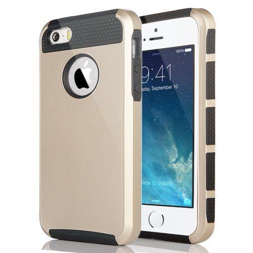 Pandamimi ULAK(TM) Shockproof Dirt Dust Proof Hard Matte PC+TPU Case Cover for Apple iPhone 5S 5 5G with Screen Protector (Champagne Gold+Black) ULAK http://www.amazon.com/dp/B00KGSXKJY/ref=cm_sw_r_pi_dp_uqNdub0MX3TF3