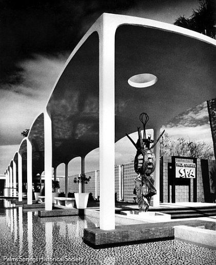 The Palm Springs Spa Hotel, one of architect William F. Cody's largest projects. The Modernist complex was specifically built in this location to make use of the natural hot springs that lay underneath the property. Donald A. Wexler and Richard A. Harrison designed the hotel's Spa. The entrance is highlighted by a whimsical sculpture—a detail often employed by Cody to lighten up the severe nature of his architecture. Photo by Julius Shulman.